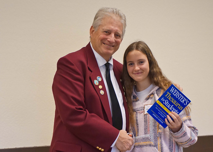 Left to right are Gary Grayson, Exalted ruler - Elks Lodge #6, Katherine Davies, Cal Middle School